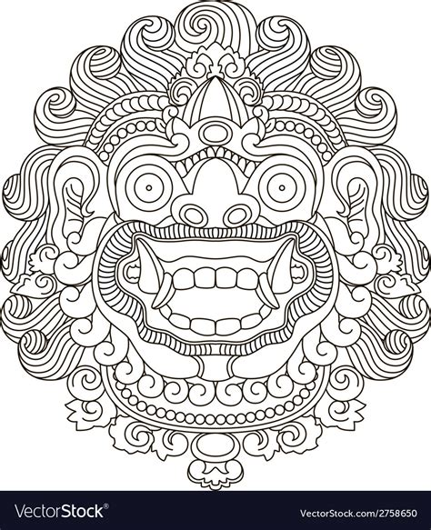indonesian traditional pattern vector mythological gods head indonesian traditional art vector image