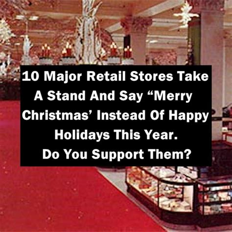 major retail stores   stand   merry christmas   happy holidays