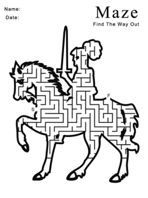 printable horse games printable knight on horse maze games