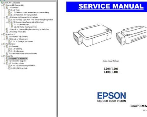 wic reset for epson l100 epson l100 l101 l200 l201 printers service manual new