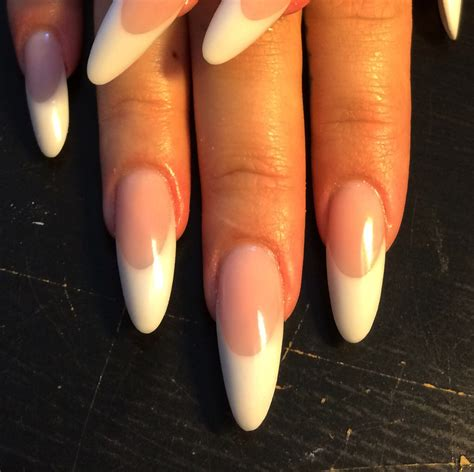 long pattern nails pink and white almond shaped l p nails naels pinterest