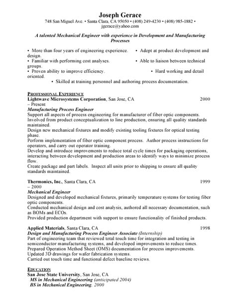 mechanical project engineer resume sle entry level resume for mechanical engineers sales