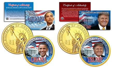 obama presidential caign up to 25 off on trump and obama 2 coin set livingsocial
