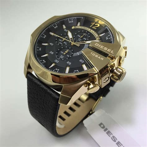 Diesel Gold Steel Leather s diesel mega chief chronograph leather dz4344