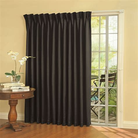 Patio Drapes The Noise Reducing Patio Door Drapes Hammacher Schlemmer