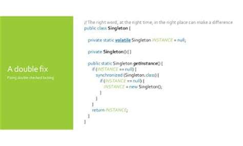 singleton pattern in java double locking 10 points about volatile modifier or field in java