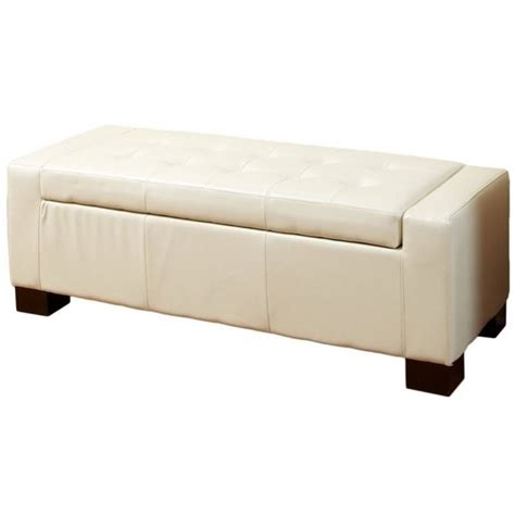 bench ottoman storage trent home carino storage ottoman bench in ivory 102362cy