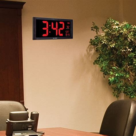 oversized led clock acurite 75100 oversized led clock with indoor temperature date and fold out new ebay