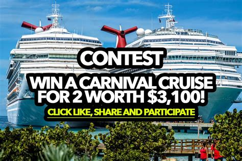 Facebook Carnival Cruise Giveaway - contest win a carnival cruise for 2 worth 3 100