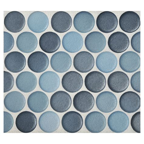Penny round mosaic cerulean blend anti slip matte complete tile collection