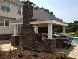 Covered Porch Plans outdoor kitchen fireplace amp pool deck