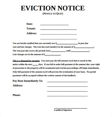 Sle Eviction Notice Template 17 Free Documents In Pdf Word Eviction Warning Notice Template