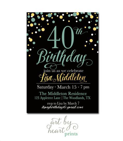 40th Birthday Invitation Template 25 40th birthday invitation templates free sle