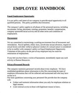 Staff Policy Template by Sle Employee Handbook 9 Documents In Pdf