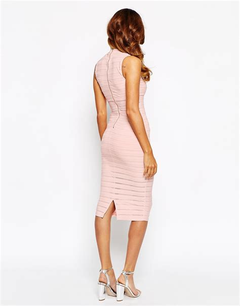 Lord Highneck Bodycon Dress lipsy sheer panelled high neck bodycon dress in lyst