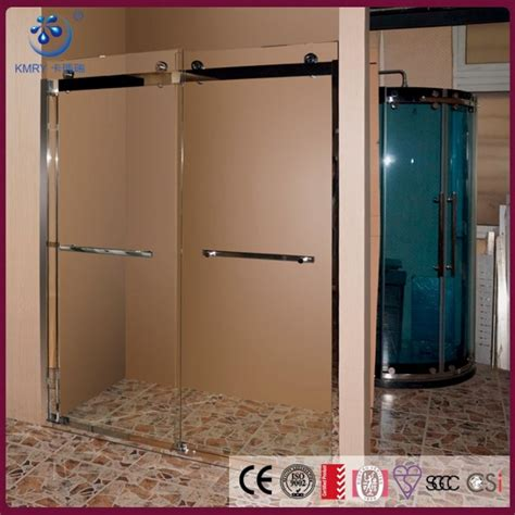 bypass glass shower doors frameless bypass sliding shower door 56 60 in width 5 16