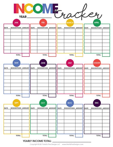 printable money organizer printable income tracker free printable included