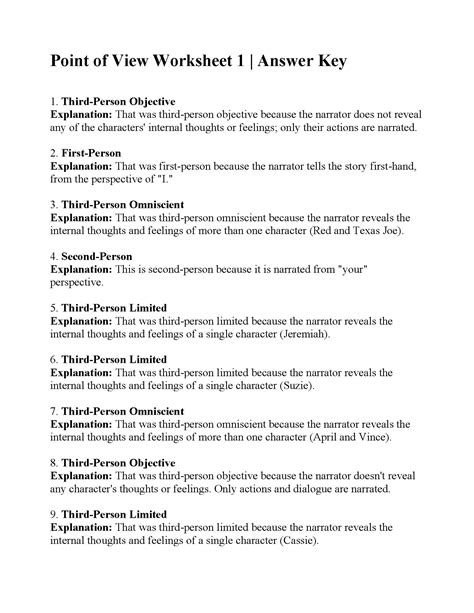 Point Of View Worksheet Answers point of view worksheet 1 answers