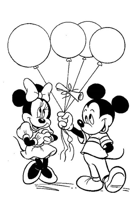 mickey mouse clubhouse coloring page mickey give a ballon gift to minnie in mickey mouse