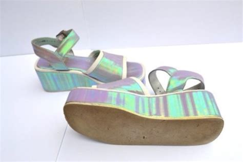 holographic platform sandals shoes flatforms platform shoes holographic 90s style