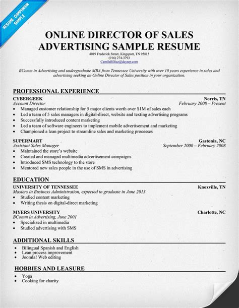 Resume Sles For Media Sales Build Your Own Resume