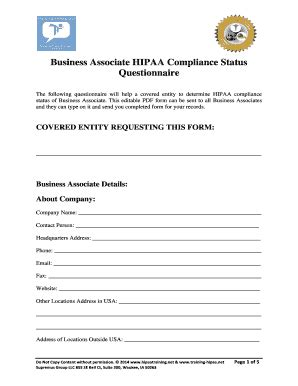 Business Associate Hipaa Compliance Form Hipaa Training Fill Online Printable Fillable Hipaa Compliance Template