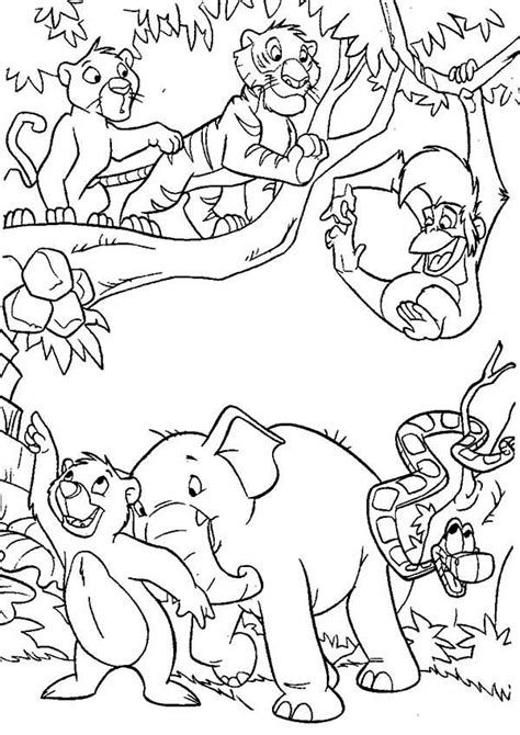 coloring page jungle jungle book coloring pages to and print for free