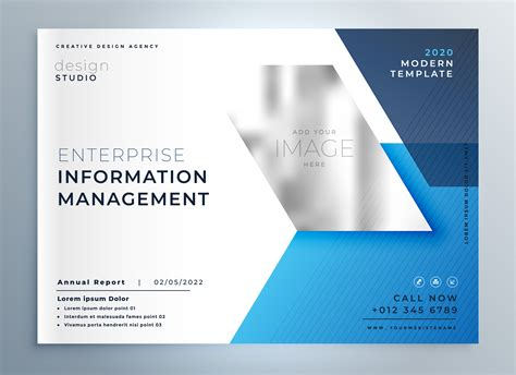 Blue Geometric Business Brochure Presentation Template Download Free Vector Art Stock Brochure Presentation Template