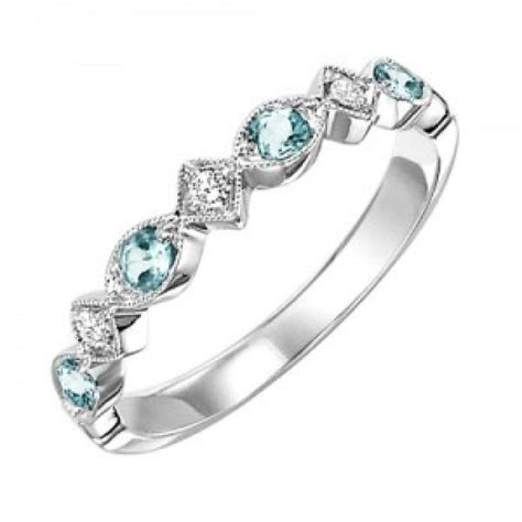 Wedding Rings With Birthstones by 10k White Gold And Blue Topaz Birthstone Ring
