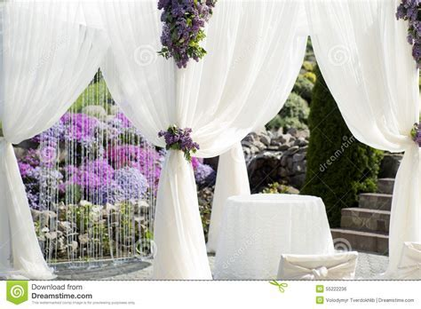 Festive Wedding Decoration Of White Fabric Closeup Stock