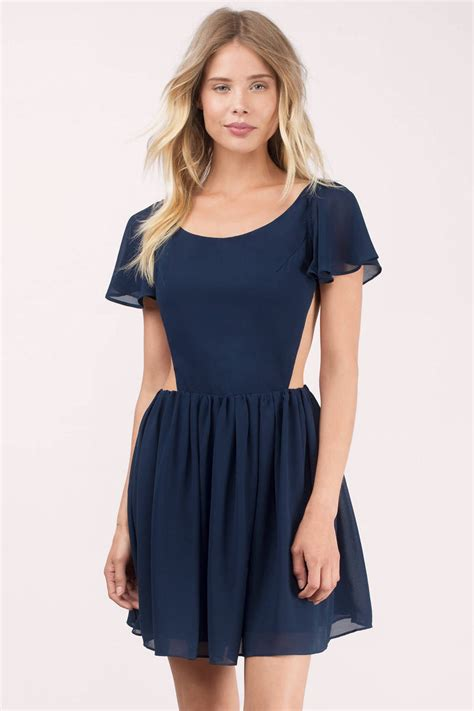 Dress Navy navy skater dress blue dress flare dress navy