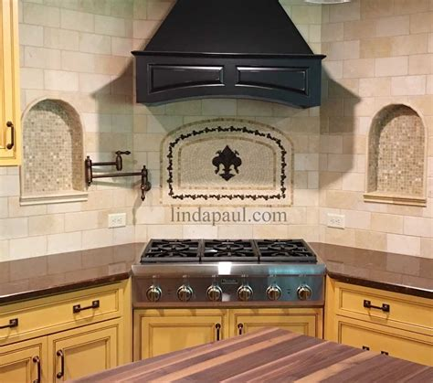 backsplash medallions kitchen fleur de lis mosaic and metal arched medallion backsplash