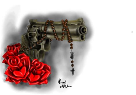 gun and roses by a gear on deviantart