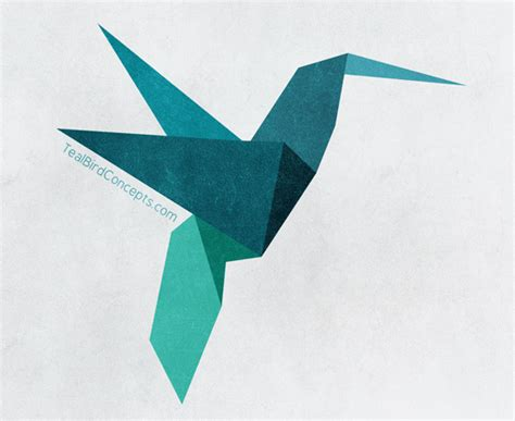 Origami Bird Drawing - teal bird concepts the stepping away for inspiration