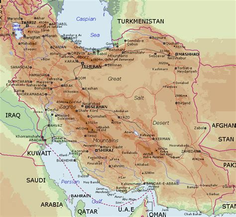 geographical map of iran detailed physical map of iran iran detailed physical map