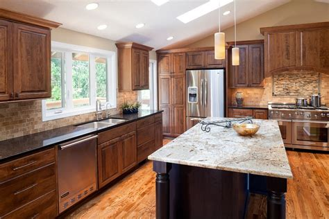 cherry wood kitchen cabinets with black granite ideas for installing kashmir white granite as home surface