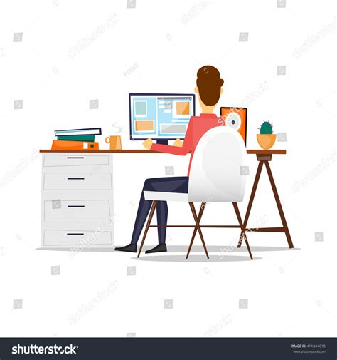 back from sitting at desk sitting desk working on computer stock vector