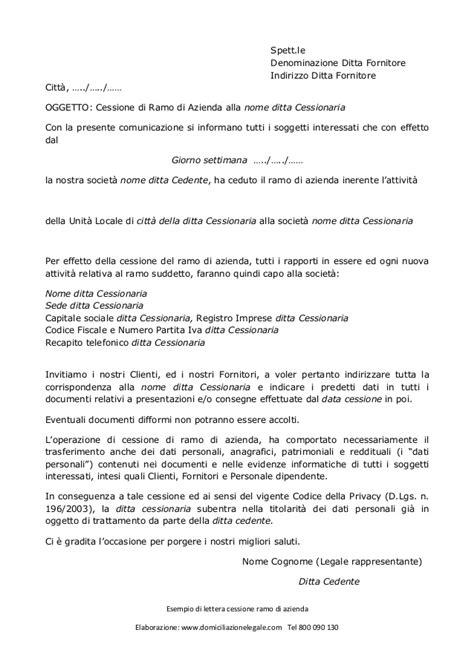 comunicazione trasferimento sede lettera per cessione ramo di azienda
