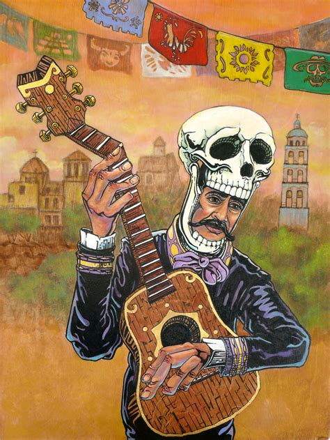 Day Of The day of the dead mariachi guitar player