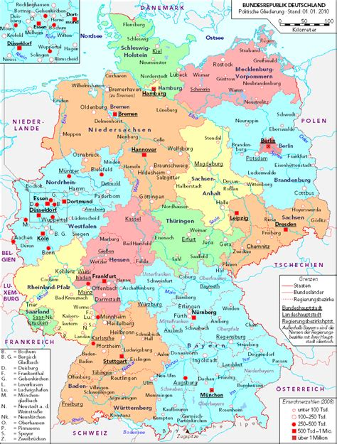 political map germany political map of germany 2010 size