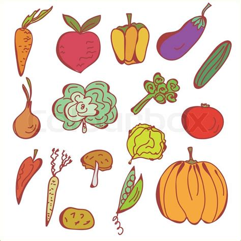 vegetable doodle vector free doodles sketch of vegetables stock vector colourbox