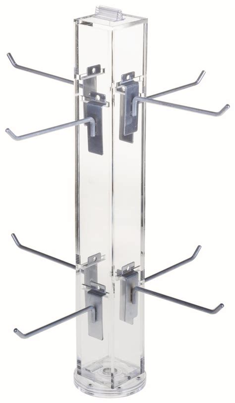 counter spinner rack with 6 quot silver hooks 8 pegs