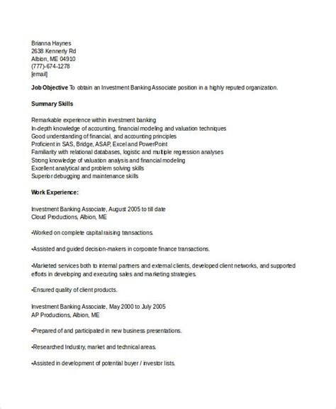 Investment Associate Sle Resume by Banking Resume Sles 45 Free Word Pdf Documents Free Premium Templates