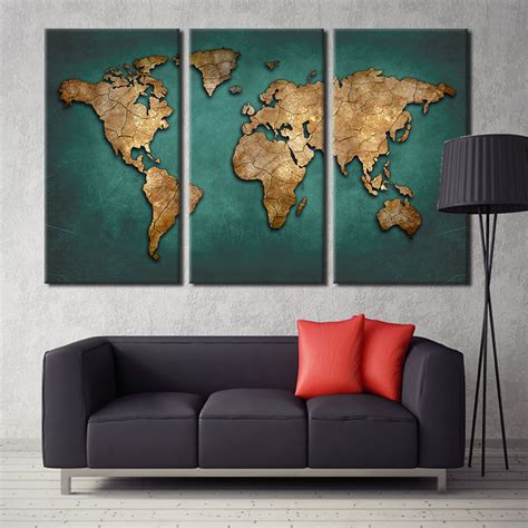 painting for home decoration aliexpress com buy world map canvas wall painting home decor vintage large dark green maps art