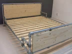 Diy Pipe Bed Frame Bed Made With Kee Kl Pipe Fittings Beds Made With Pipe Pinterest Stains Industrial
