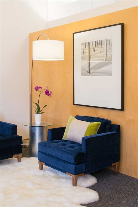 Dining Room Curtain Ideas Blue Velvet Armchair And Soft Sheepskin Rug For Modern
