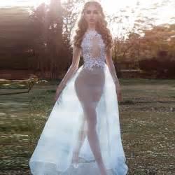 sheer beach beach wedding dresse long sleeves unique