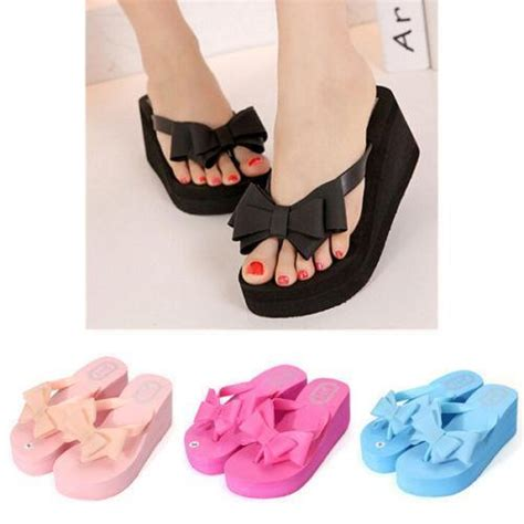 Bowknot Casual Slippers 883 1 new bowknot wedge heel slipper flip flops
