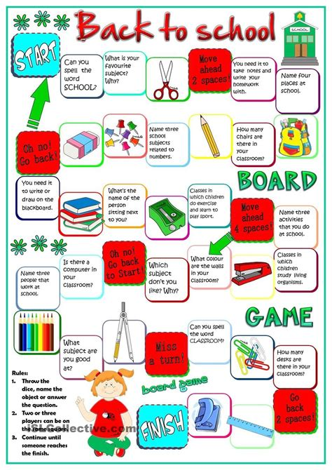printable games for the classroom back to school board game esl k pinterest school