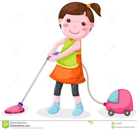 Vacuum Karpet Karakter vrouw die stofzuiger met behulp royalty vrije stock